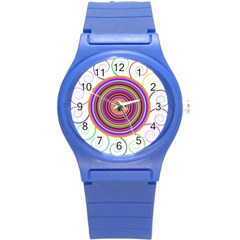 Abstract Spiral Circle Rainbow Color Round Plastic Sport Watch (s)