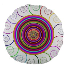 Abstract Spiral Circle Rainbow Color Large 18  Premium Round Cushions