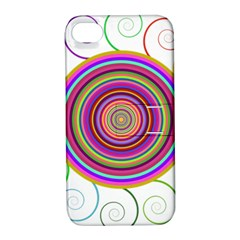 Abstract Spiral Circle Rainbow Color Apple iPhone 4/4S Hardshell Case with Stand