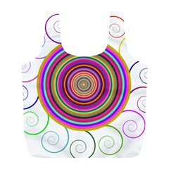 Abstract Spiral Circle Rainbow Color Full Print Recycle Bags (L)