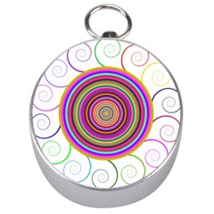 Abstract Spiral Circle Rainbow Color Silver Compasses