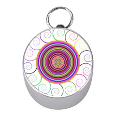 Abstract Spiral Circle Rainbow Color Mini Silver Compasses