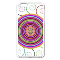 Abstract Spiral Circle Rainbow Color Apple iPhone 6 Plus/6S Plus Enamel White Case