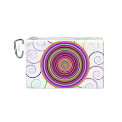Abstract Spiral Circle Rainbow Color Canvas Cosmetic Bag (S)