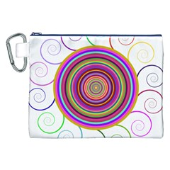 Abstract Spiral Circle Rainbow Color Canvas Cosmetic Bag (XXL)