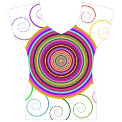 Abstract Spiral Circle Rainbow Color Women s V-Neck Cap Sleeve Top