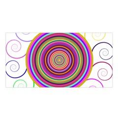 Abstract Spiral Circle Rainbow Color Satin Shawl