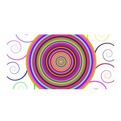 Abstract Spiral Circle Rainbow Color Satin Wrap