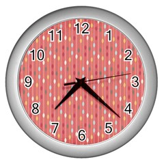 Circle Red Freepapers Paper Wall Clocks (silver)