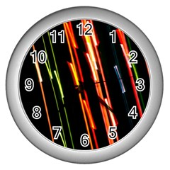 Colorful Diagonal Lights Lines Wall Clocks (Silver)