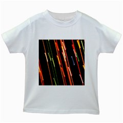 Colorful Diagonal Lights Lines Kids White T-Shirts