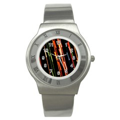 Colorful Diagonal Lights Lines Stainless Steel Watch