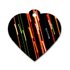 Colorful Diagonal Lights Lines Dog Tag Heart (One Side)