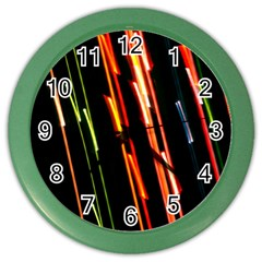 Colorful Diagonal Lights Lines Color Wall Clocks
