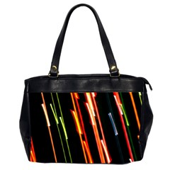 Colorful Diagonal Lights Lines Office Handbags (2 Sides)