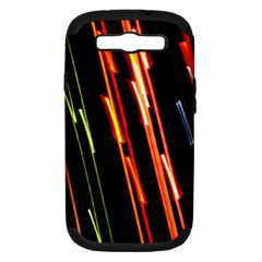 Colorful Diagonal Lights Lines Samsung Galaxy S III Hardshell Case (PC+Silicone)