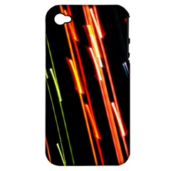 Colorful Diagonal Lights Lines Apple iPhone 4/4S Hardshell Case (PC+Silicone)