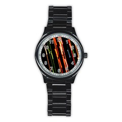 Colorful Diagonal Lights Lines Stainless Steel Round Watch