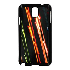 Colorful Diagonal Lights Lines Samsung Galaxy Note 3 Neo Hardshell Case (Black)