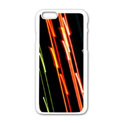 Colorful Diagonal Lights Lines Apple iPhone 6/6S White Enamel Case