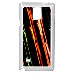 Colorful Diagonal Lights Lines Samsung Galaxy Note 4 Case (White)