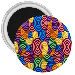 Circles Color Yellow Purple Blu Pink Orange Illusion 3  Magnets