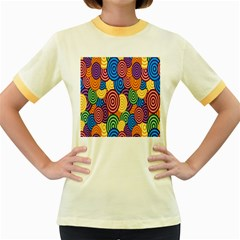 Circles Color Yellow Purple Blu Pink Orange Illusion Women s Fitted Ringer T-Shirts