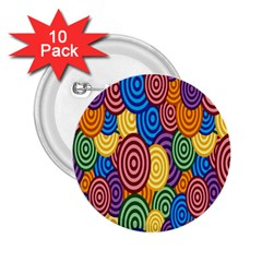 Circles Color Yellow Purple Blu Pink Orange Illusion 2.25  Buttons (10 pack)