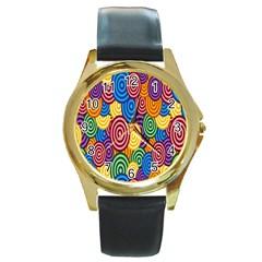Circles Color Yellow Purple Blu Pink Orange Illusion Round Gold Metal Watch