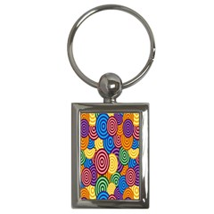 Circles Color Yellow Purple Blu Pink Orange Illusion Key Chains (rectangle)