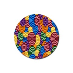 Circles Color Yellow Purple Blu Pink Orange Illusion Rubber Round Coaster (4 pack)