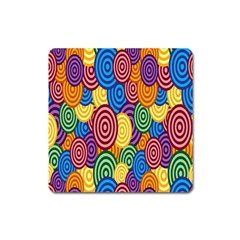 Circles Color Yellow Purple Blu Pink Orange Illusion Square Magnet