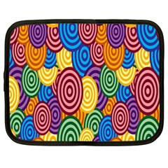 Circles Color Yellow Purple Blu Pink Orange Illusion Netbook Case (XXL)