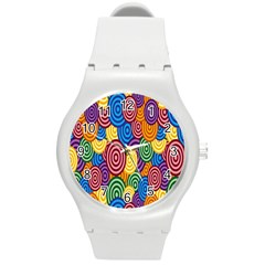 Circles Color Yellow Purple Blu Pink Orange Illusion Round Plastic Sport Watch (M)