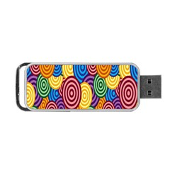 Circles Color Yellow Purple Blu Pink Orange Illusion Portable USB Flash (One Side)
