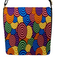 Circles Color Yellow Purple Blu Pink Orange Illusion Flap Messenger Bag (S)