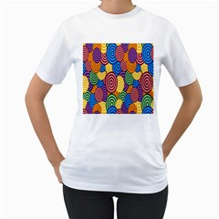 Circles Color Yellow Purple Blu Pink Orange Illusion Women s T-Shirt (White)