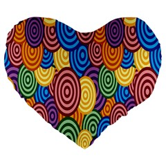 Circles Color Yellow Purple Blu Pink Orange Illusion Large 19  Premium Flano Heart Shape Cushions