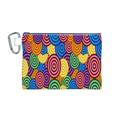 Circles Color Yellow Purple Blu Pink Orange Illusion Canvas Cosmetic Bag (M)
