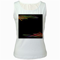 Colorful Light Frame Line Women s White Tank Top
