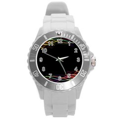 Colorful Light Frame Line Round Plastic Sport Watch (L)
