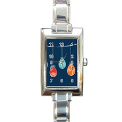 Easter Egg Balloon Pink Blue Red Orange Rectangle Italian Charm Watch