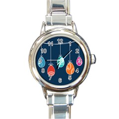 Easter Egg Balloon Pink Blue Red Orange Round Italian Charm Watch