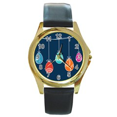 Easter Egg Balloon Pink Blue Red Orange Round Gold Metal Watch