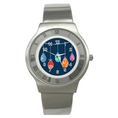 Easter Egg Balloon Pink Blue Red Orange Stainless Steel Watch