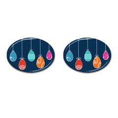 Easter Egg Balloon Pink Blue Red Orange Cufflinks (Oval)