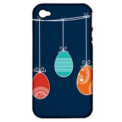 Easter Egg Balloon Pink Blue Red Orange Apple iPhone 4/4S Hardshell Case (PC+Silicone)