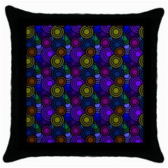 Circles Color Yellow Purple Blu Pink Orange Throw Pillow Case (Black)