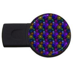 Circles Color Yellow Purple Blu Pink Orange USB Flash Drive Round (4 GB)