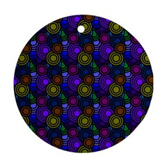 Circles Color Yellow Purple Blu Pink Orange Round Ornament (Two Sides)